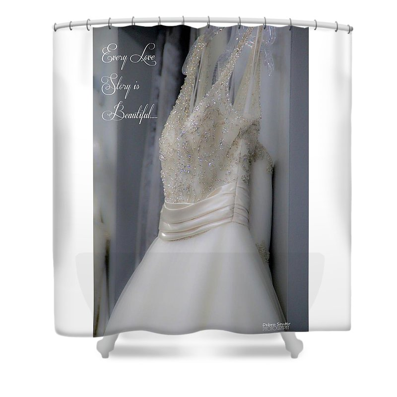 Wedding Shower Curtain featuring the photograph Love Stories by Debra Farrey