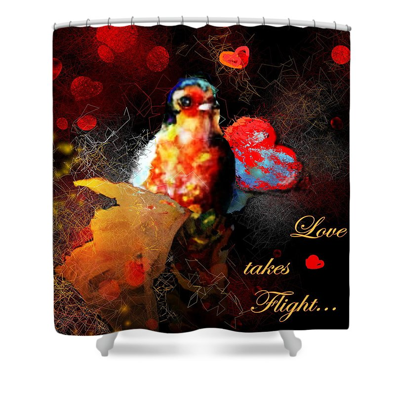 Love Shower Curtain featuring the painting Love Takes Flight by Miki De Goodaboom