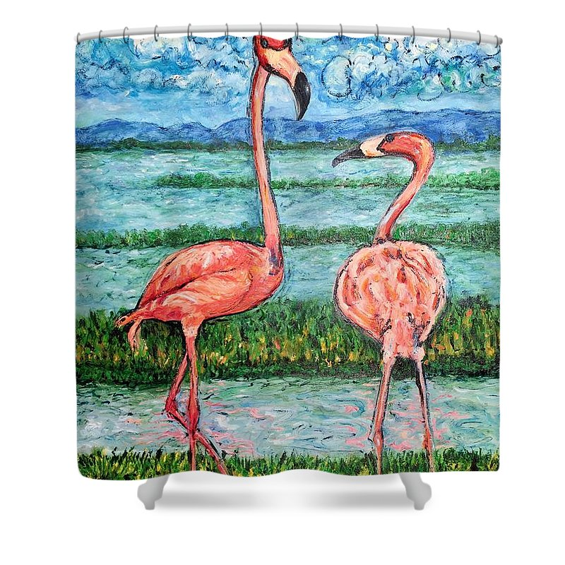 Lanscape Shower Curtain featuring the painting Love Talk by Ericka Herazo