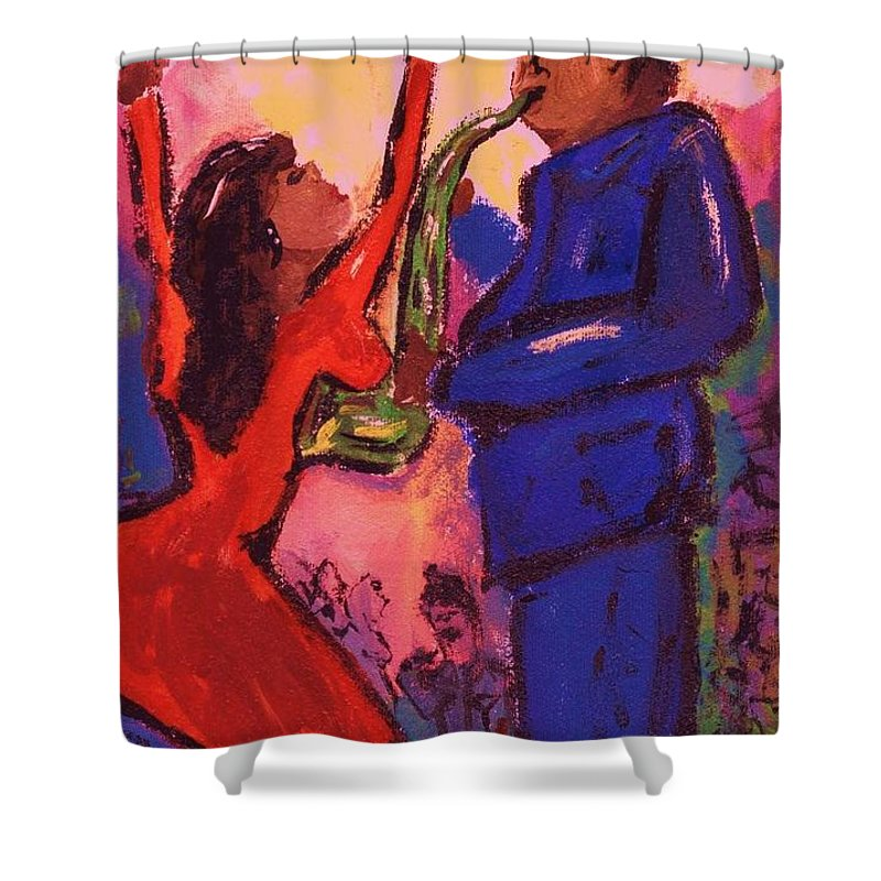 Jazz Shower Curtain featuring the painting Love That Sax Man by Sidra Myers
