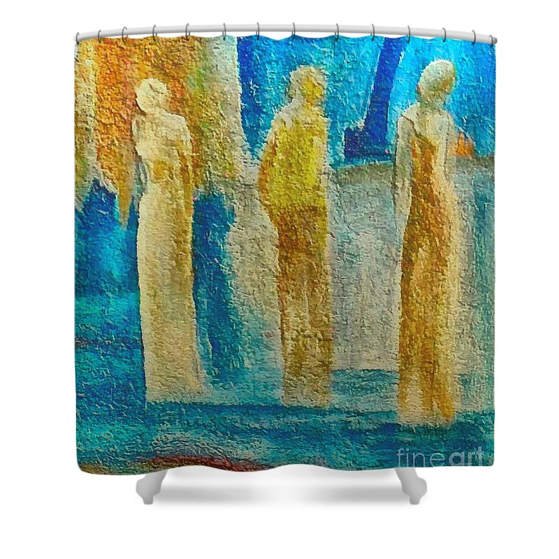 Mixed Media Shower Curtain featuring the mixed media Love Triangle by Dragica Micki Fortuna