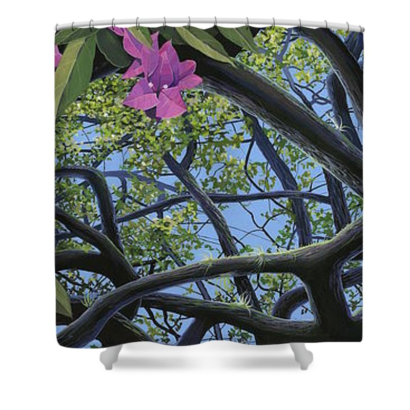 Bougainvillea Shower Curtain featuring the painting Love Voodoo by Hunter Jay