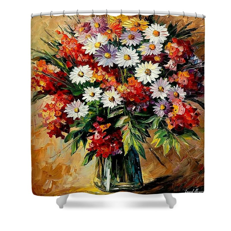 Still Life Shower Curtain featuring the painting Lovely Bouquet by Leonid Afremov
