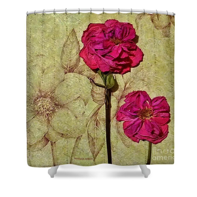 Photo Shower Curtain featuring the mixed media Lovely Dried Roses by Marsha Heiken