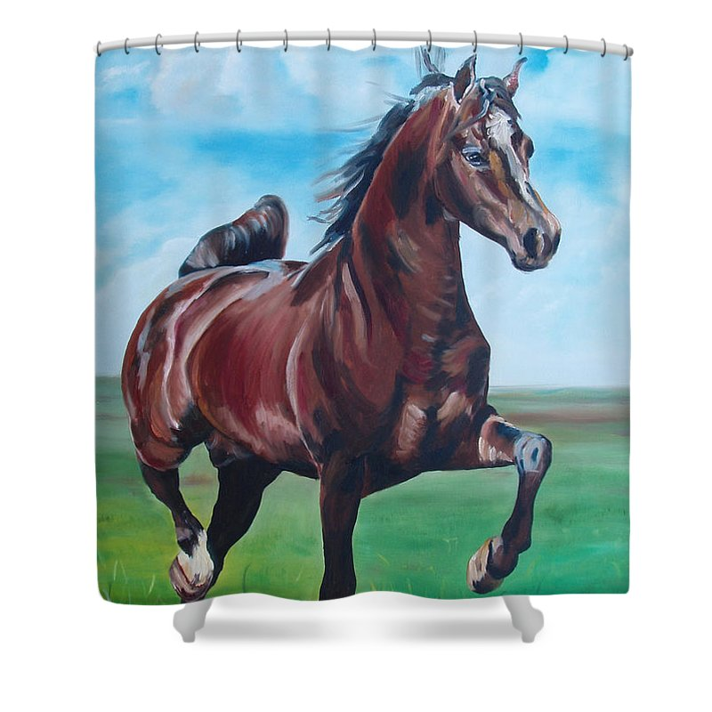 Horse Shower Curtain featuring the painting Lovely by Gina De Gorna