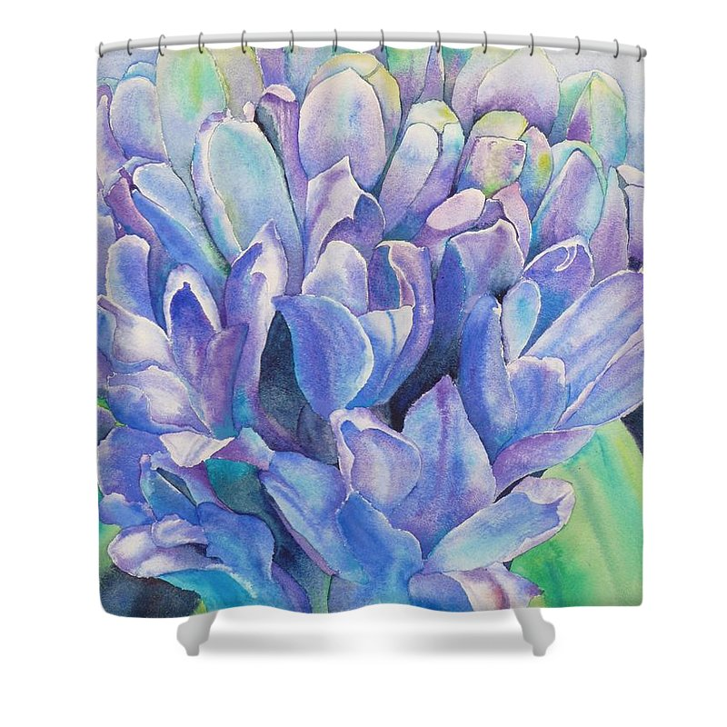 Flower Shower Curtain featuring the painting Lovely Lupine by Ruth Kamenev