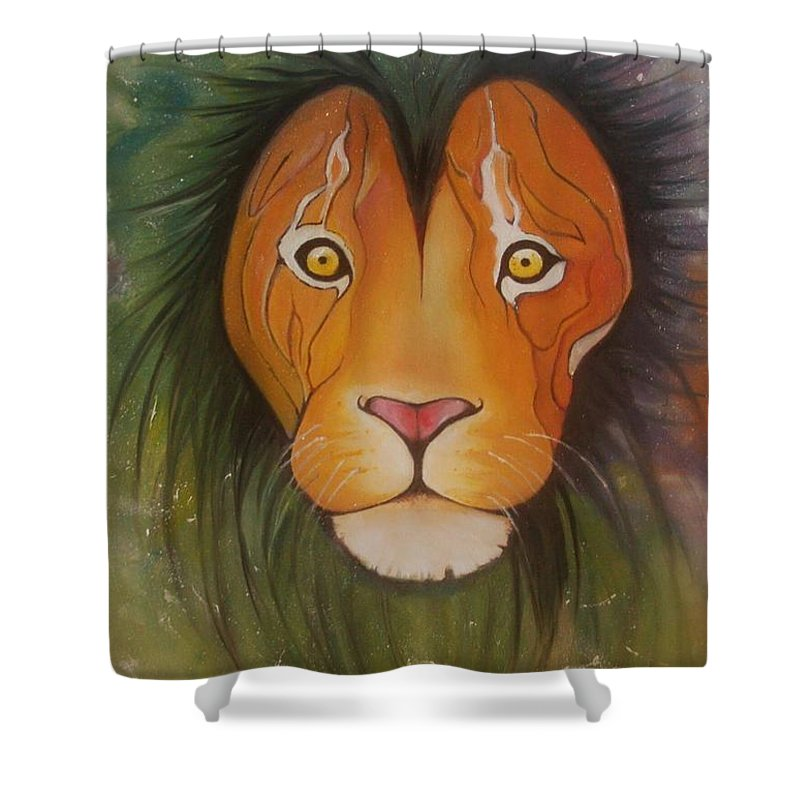 #lion #oilpainting #animal #colorful Shower Curtain featuring the painting Lovelylion by Anne Sue