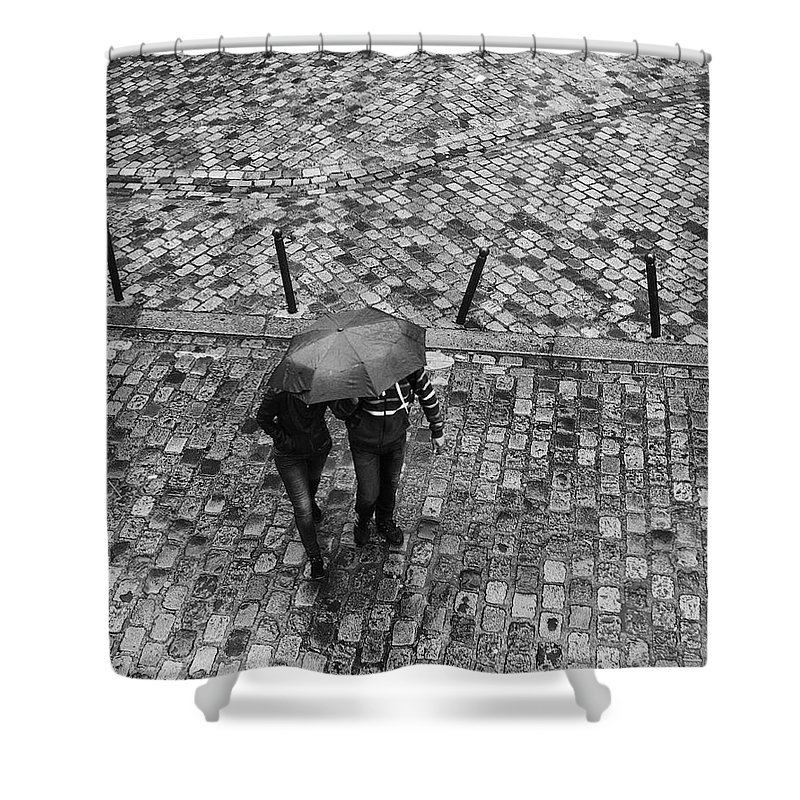 Lover Walking In The Rain With Umbrella Shower Curtain featuring the photograph Lover by Win Naing
