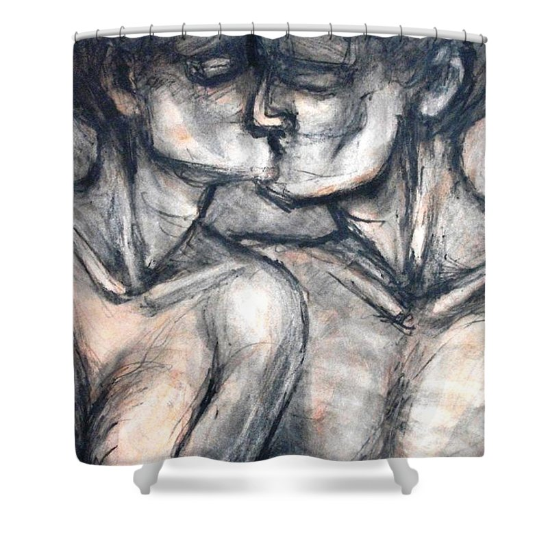 Original Shower Curtain featuring the painting Lovers - Kiss by Carmen Tyrrell