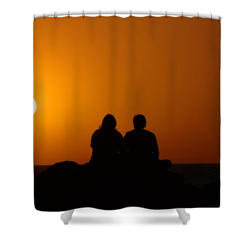 Sunset Shower Curtain featuring the photograph Lovers At Sunset by Susanne Van Hulst