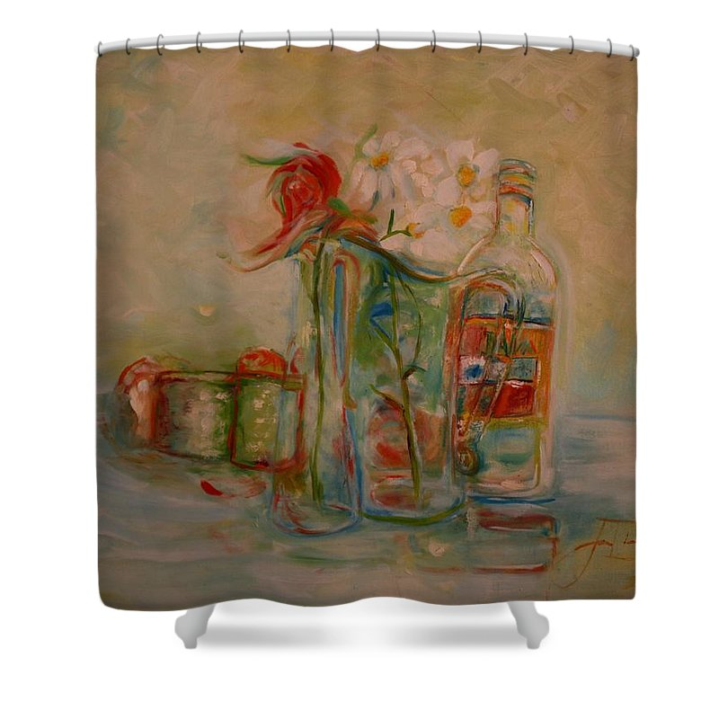 Rose Shower Curtain featuring the painting Lovers Picnic by Jack Diamond