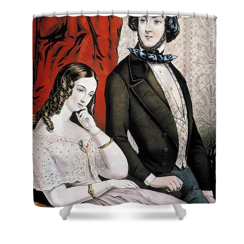 1846 Shower Curtain featuring the photograph Lovers Quarrel, 1846 by Granger