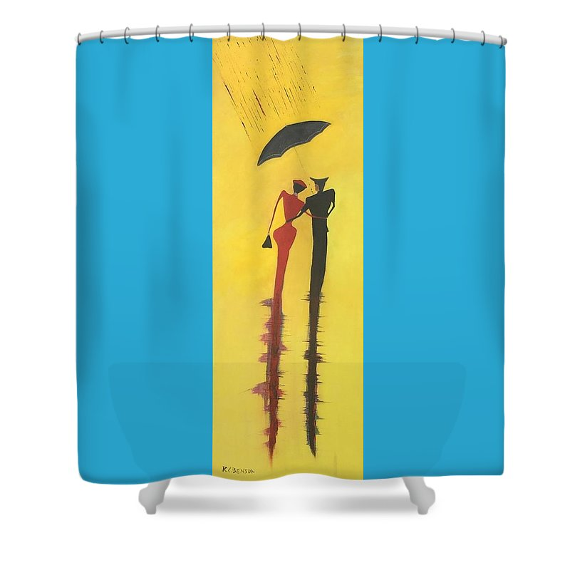 City Shower Curtain featuring the painting Walking In The Rain Is No2 Lovers Walk Series by Richard Benson