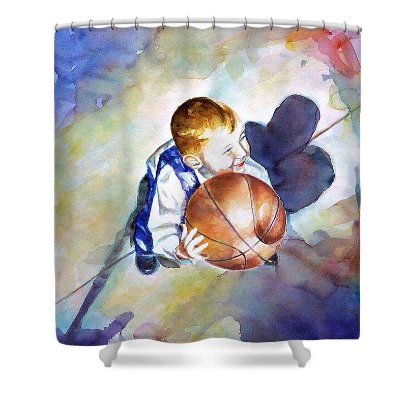 Watercolor Shower Curtain featuring the painting Loves the Game by Shannon Grissom