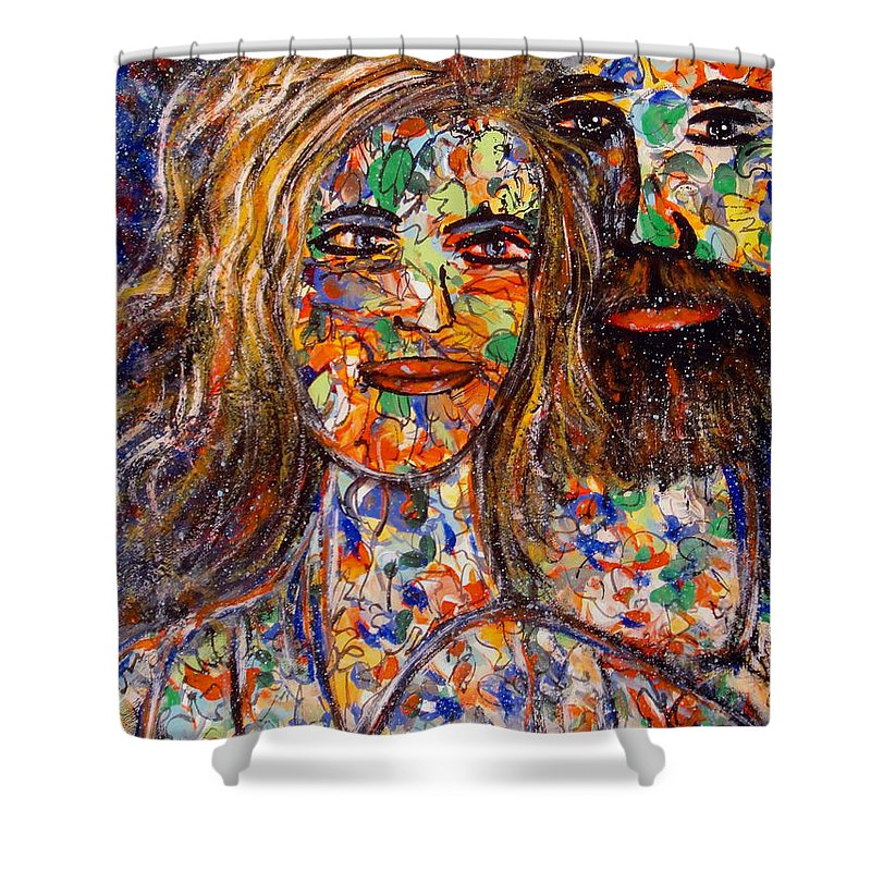 Close Couple Shower Curtain featuring the painting Loving Couple by Natalie Holland