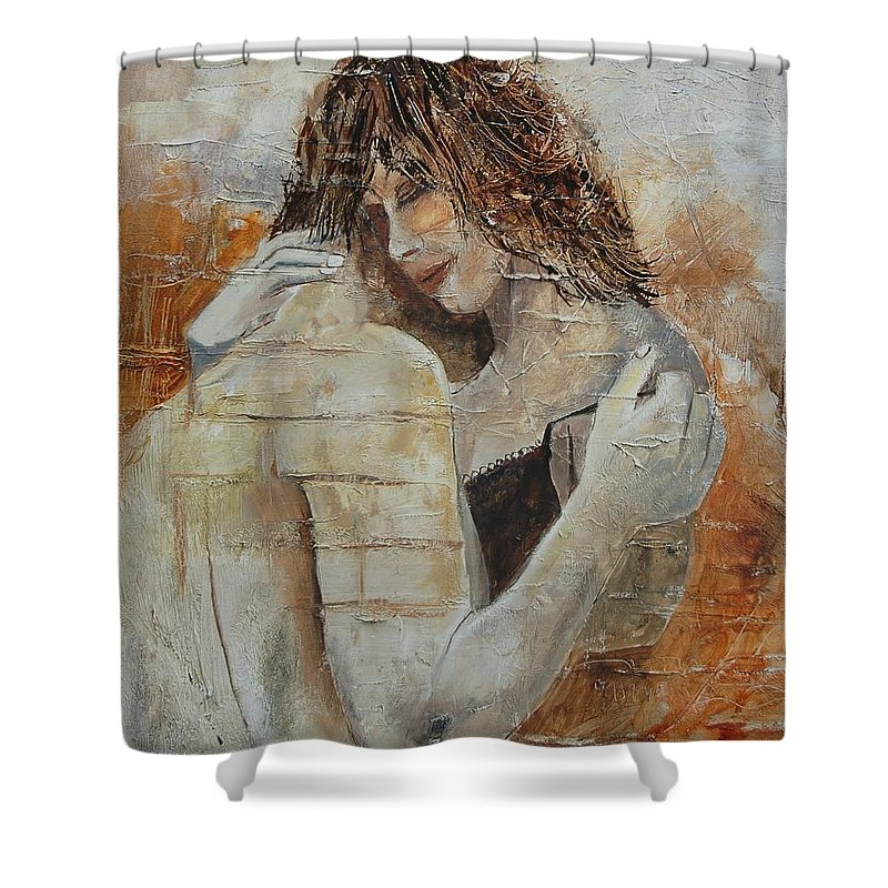 Girl Shower Curtain featuring the painting Loving Couple by Pol Ledent