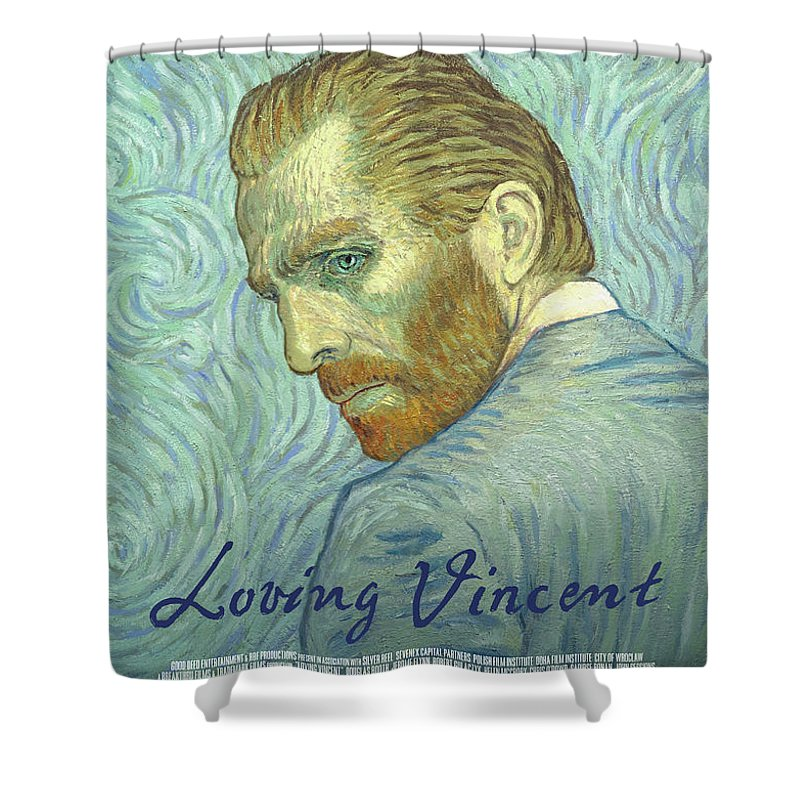 Shower Curtain Featuring The Painting Loving Vincent Movie Poster By Anna Kluza