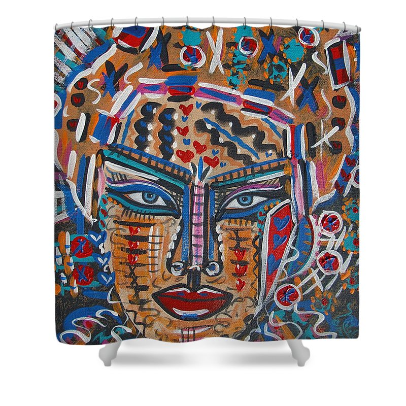 Abstract Shower Curtain featuring the painting Loviola by Natalie Holland