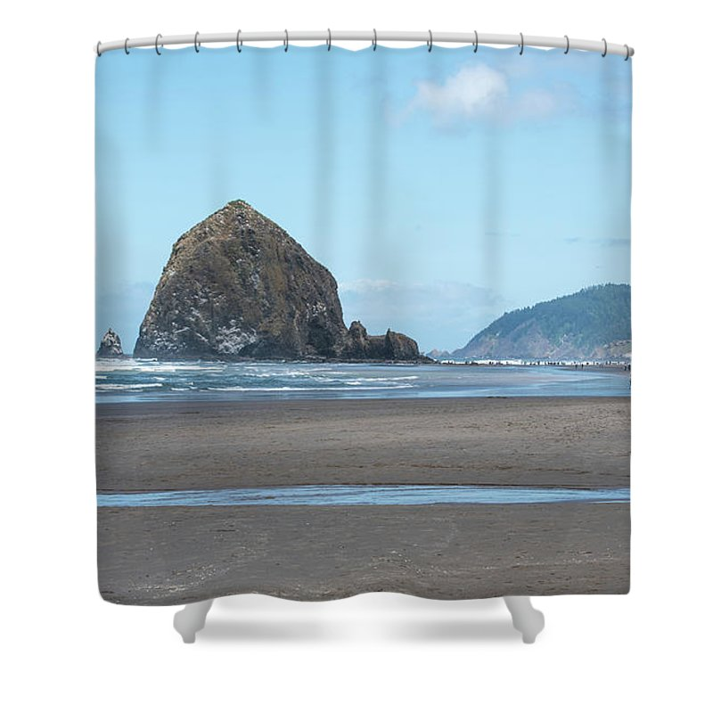 Tide Is Out At Cannon Beach Shower Curtain featuring the photograph Low Tide At Cannon Beach by Tom Cochran
