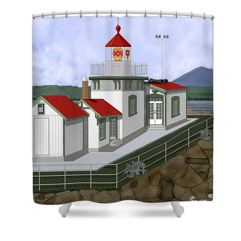 Lighthouse Shower Curtain featuring the painting Low Tide At West Point Lighthouse In Seattle by Anne Norskog