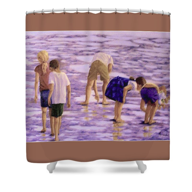 Children At Play Shower Curtain featuring the painting Low Tide Exploration by Fran Rittenhouse-McLean