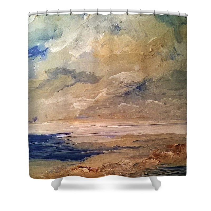 Ocean Shower Curtain featuring the painting Low Tide by PJ McNally