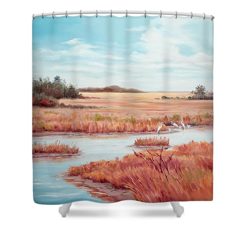Marsh Shower Curtain featuring the painting Low Tide Vista by Glenda Cason