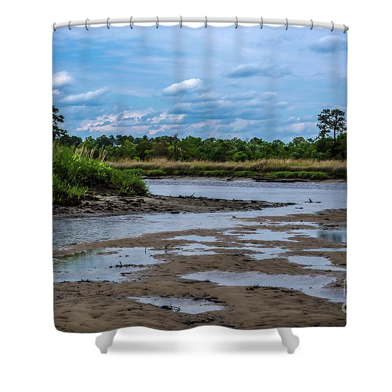 River Shower Curtain featuring the photograph Low Tide by Yvette Wilson