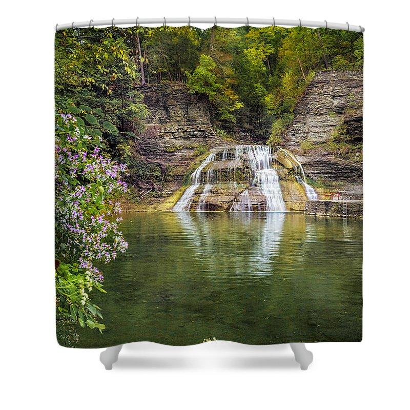 New York Shower Curtain featuring the photograph Lower Falls Of Enfield Glen Robert H. Treman State Park by Karen Jorstad
