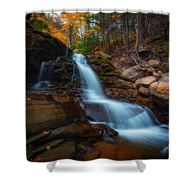 Autumn Shower Curtain featuring the photograph Lower Kaaterskill Falls by Rick Berk