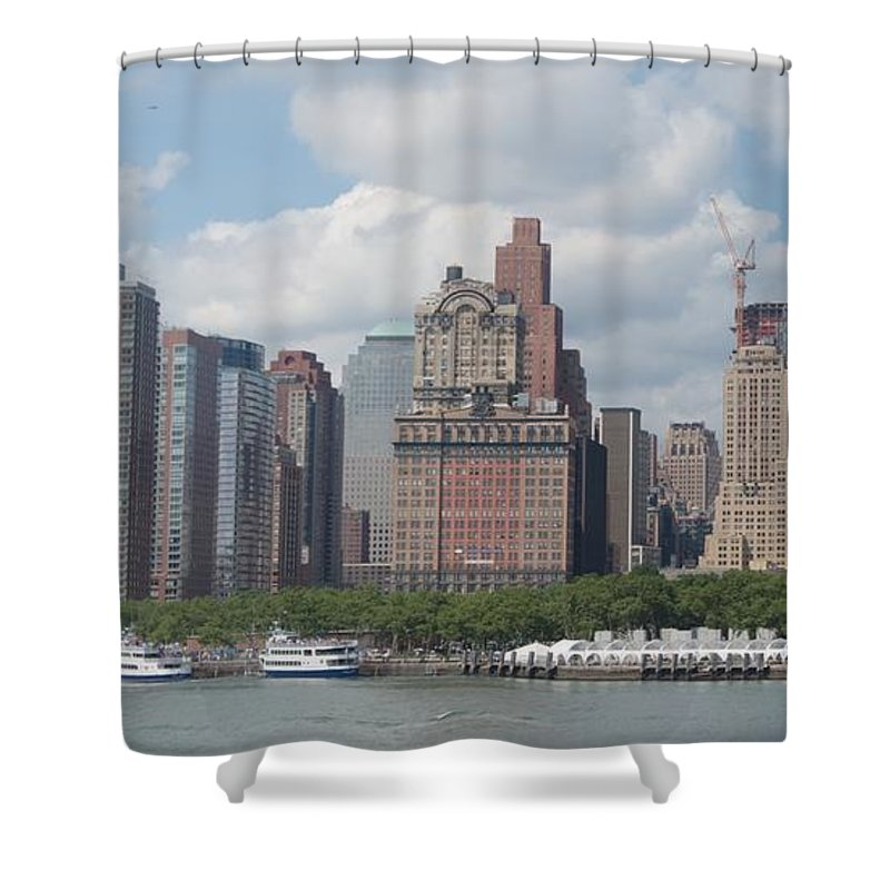 New York Shower Curtain featuring the photograph Lower Manhattan Panorama by Thomas Marchessault