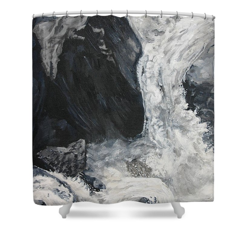Water Shower Curtain featuring the painting Lower Vernal Black And White by Travis Day