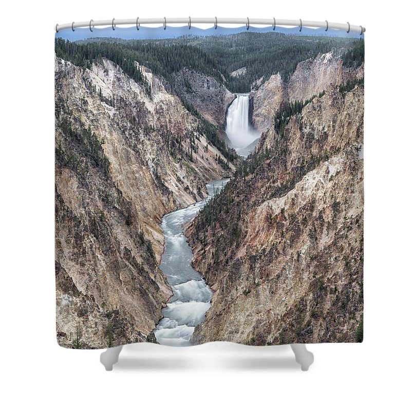 Canyon Shower Curtain featuring the photograph Lower Yellowstone Falls by Richard Sandford