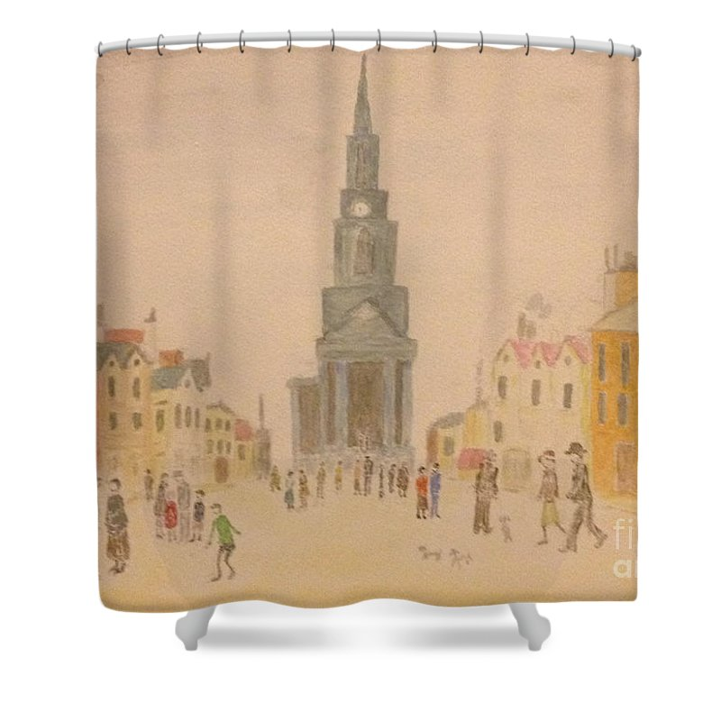 English Art Shower Curtain Featuring The Painting Lowry And Shadow Of Japan By Sawako Utsumi