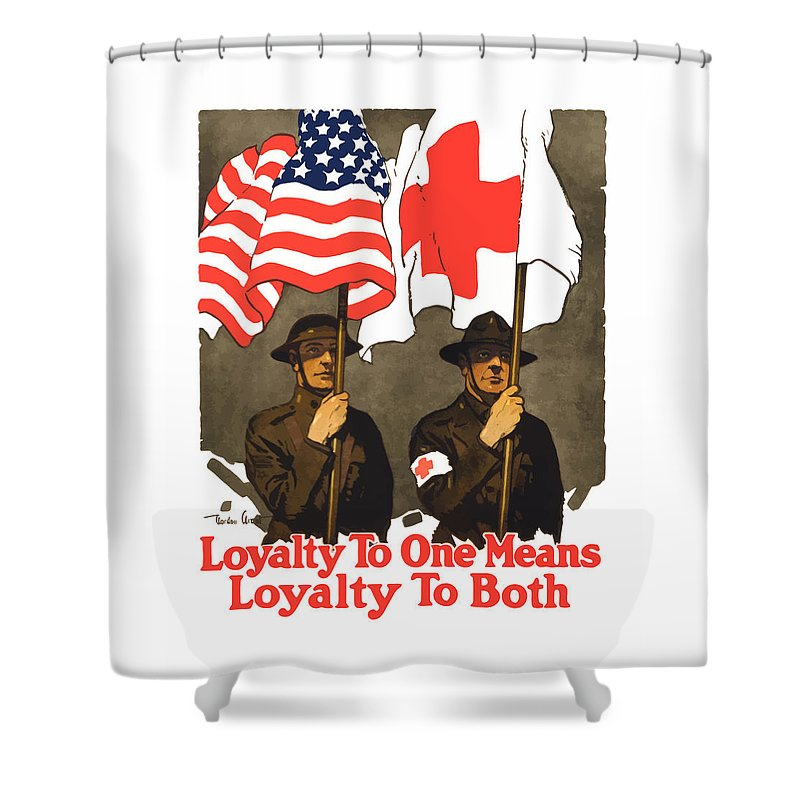 Red Cross Shower Curtain featuring the painting Loyalty To One Means Loyalty To Both by War Is Hell Store