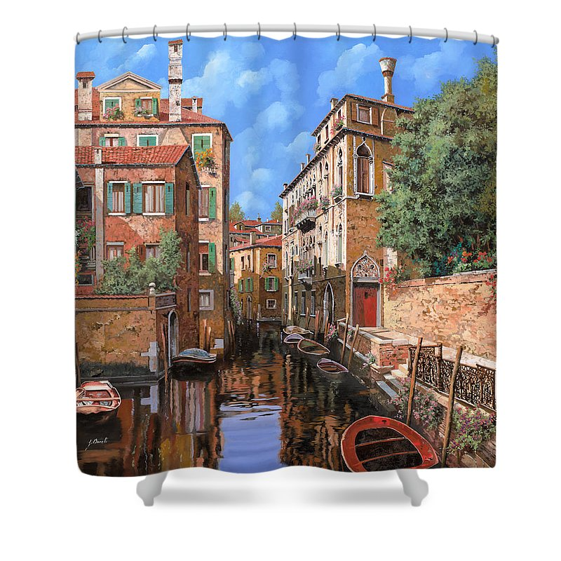Venice Shower Curtain featuring the painting Luci A Venezia by Guido Borelli