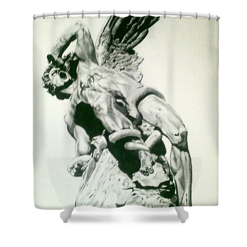 Black And White Shower Curtain Featuring The Drawing Lucifer Fallen Angel By Gabrielle Roales