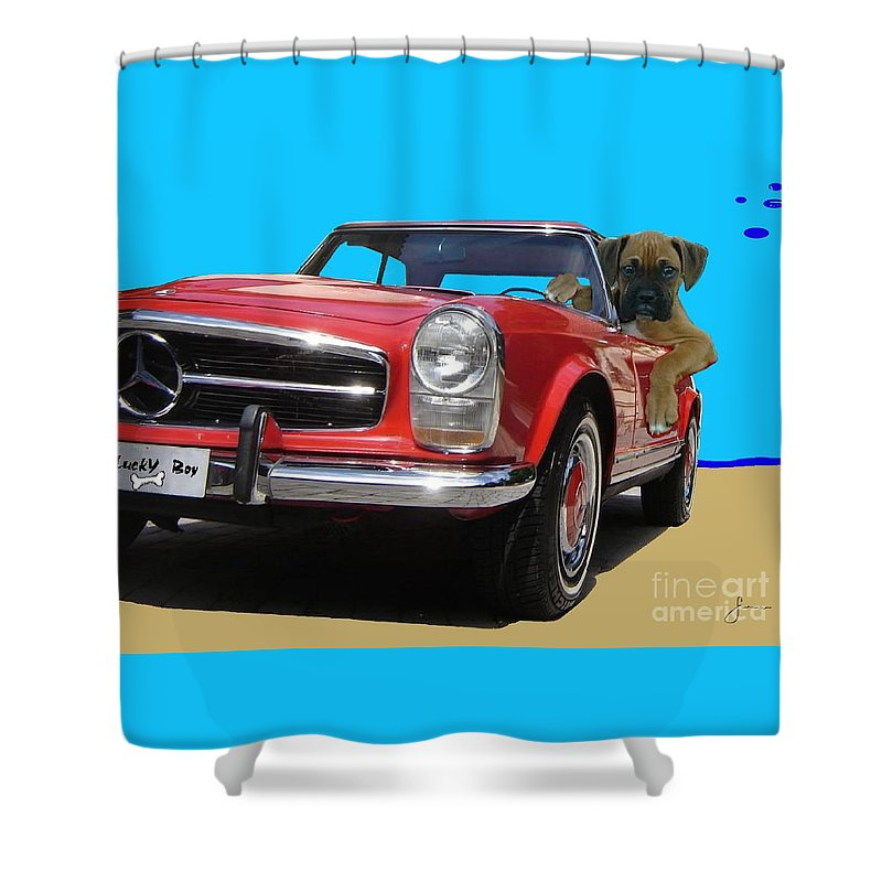 Pets Portraits. Pets Art Shower Curtain featuring the painting Lucky Boy by Sinisa Saratlic