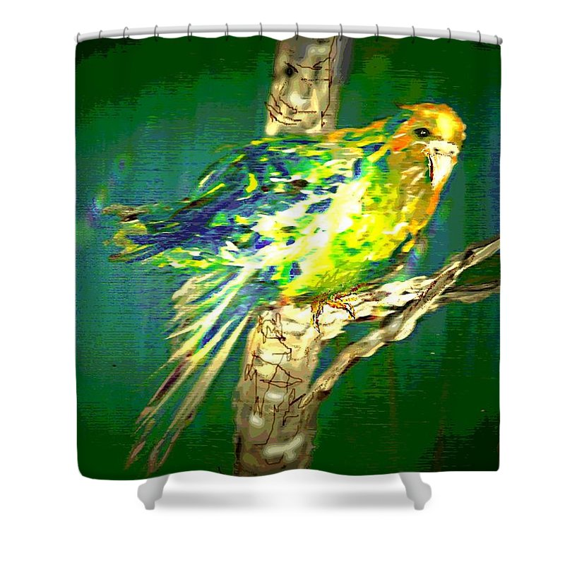 Original Acrylic Painting On Canvas That Was Copied Onto 8.5 X 11 Glossy Photo Paper And Enhanced. Main Colors Shower Curtain featuring the painting Lucky Louie by Desline Vitto
