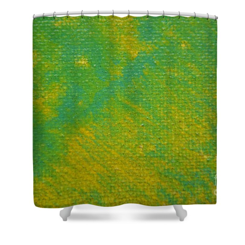 Green Shower Curtain featuring the painting Lucky by Zack Anderson