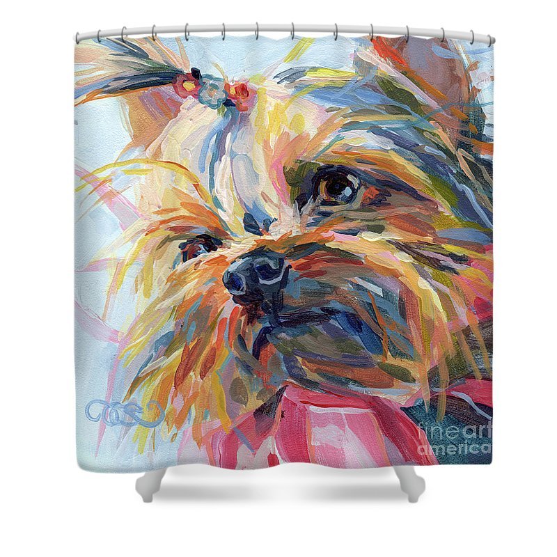 Yorkshire Terrier Shower Curtain featuring the painting Lucy In The Sky by Kimberly Santini