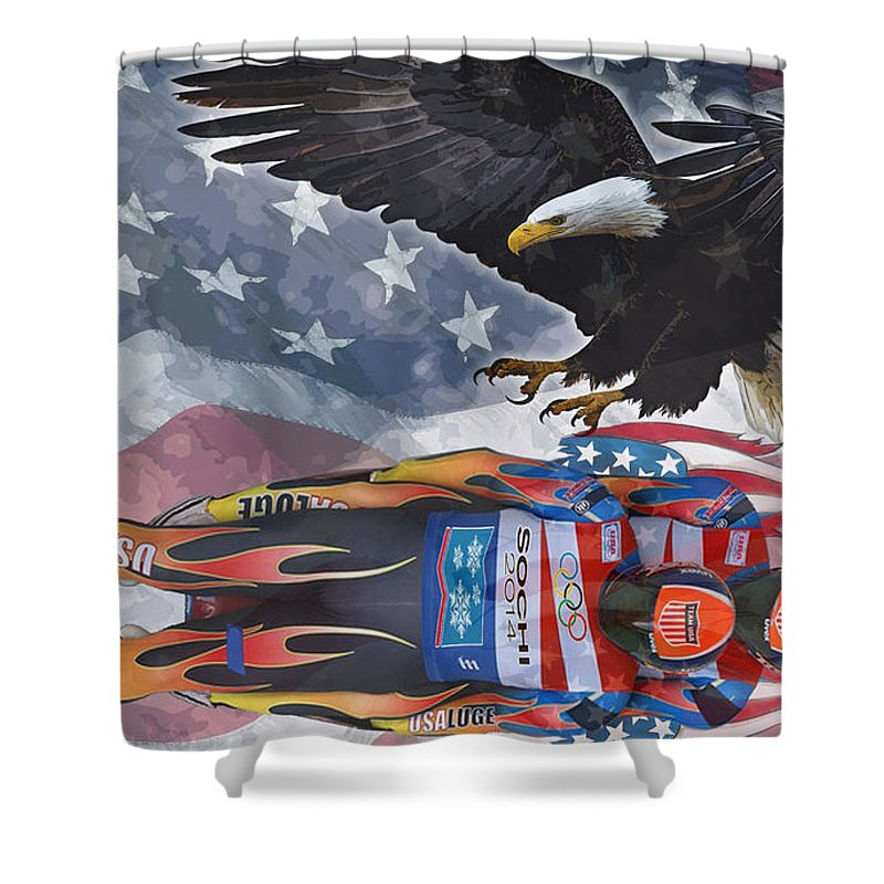Luge Shower Curtain featuring the digital art Luge by Zia Low
