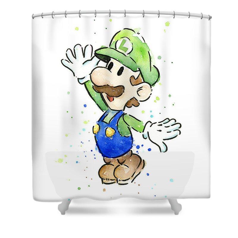 Luigi Shower Curtain featuring the painting Luigi Watercolor by Olga Shvartsur