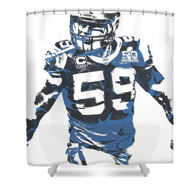 best website b9258 da02d Luke Kuechly Carolina Panthers Pixel Art 5 Shower Curtain