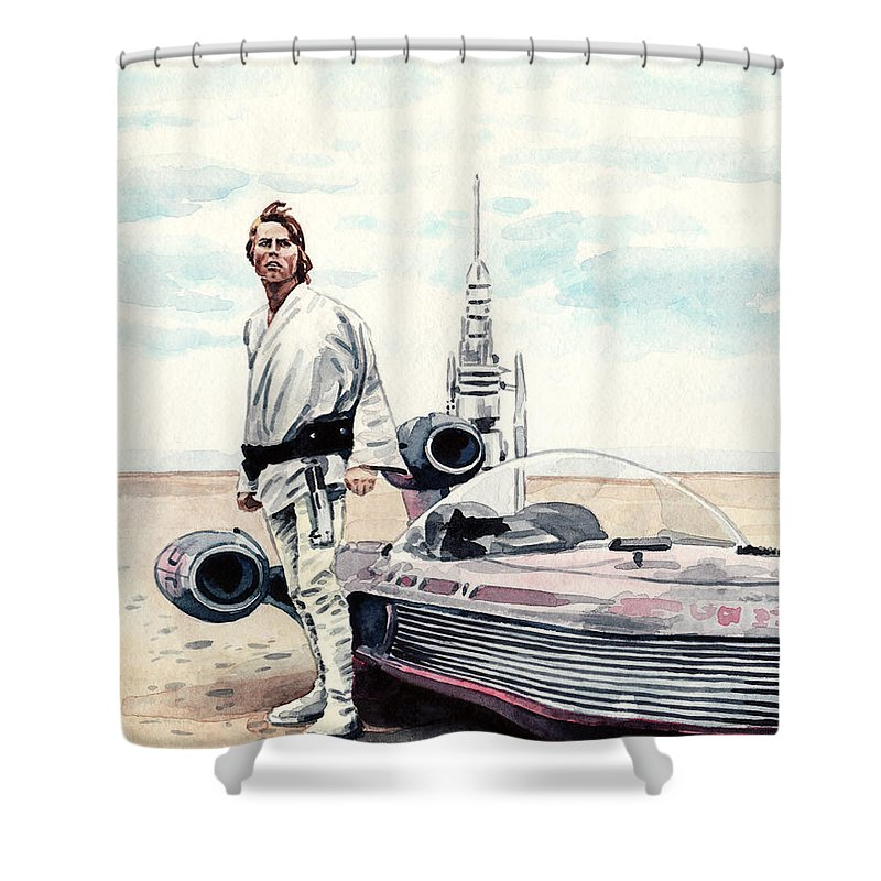Star Wars Shower Curtain Featuring The Painting Luke Skywalker On Tatooine A New Hope
