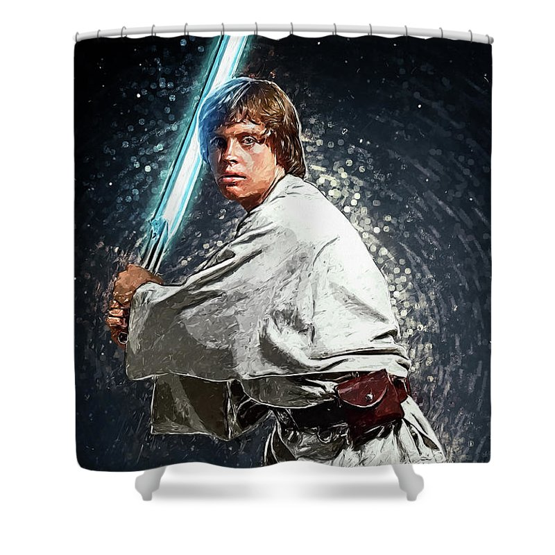 Luke Skywalker Shower Curtain featuring the digital art Luke Skywalker by Zapista OU