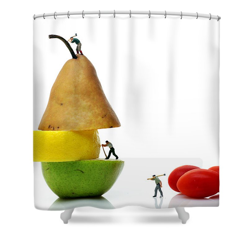 Surreal Shower Curtain Featuring The Photograph Lumberjacks Working On Fruits By Paul Ge