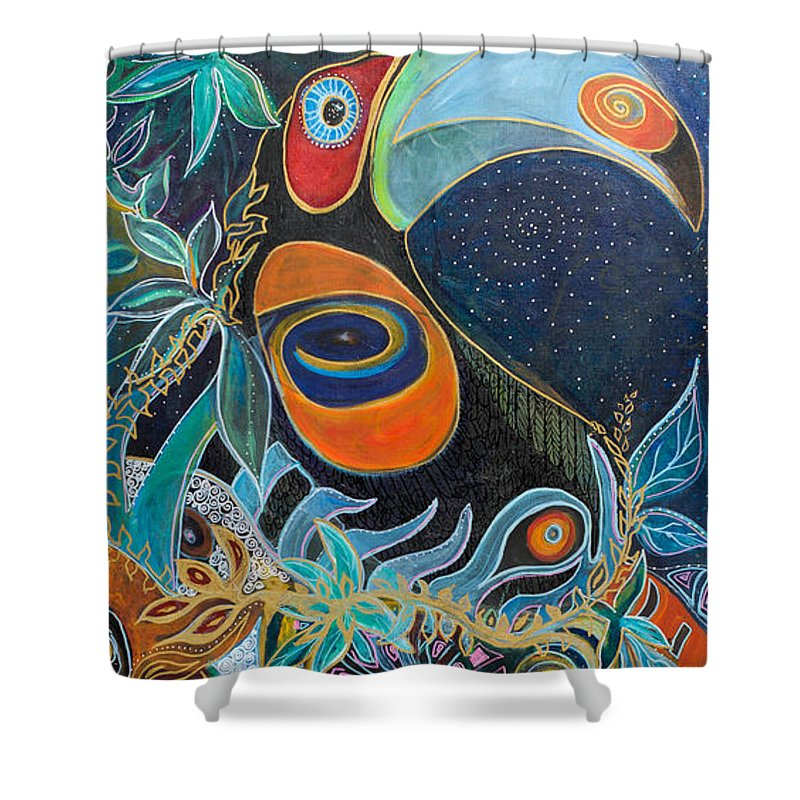 Toucan Shower Curtain featuring the painting Luminous by Leela Payne