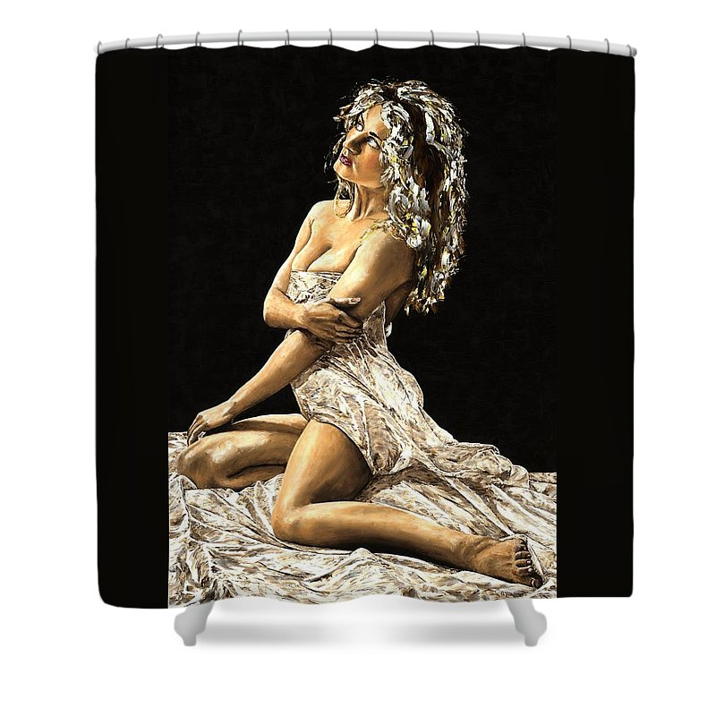 Nude Shower Curtain featuring the painting Luminous by Richard Young