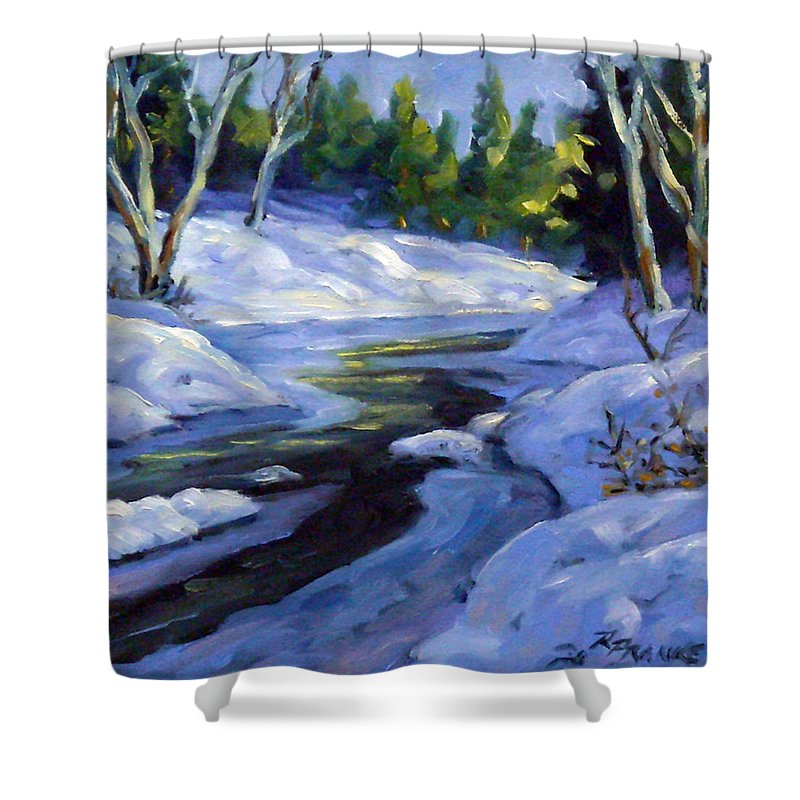 Art Shower Curtain featuring the painting Luminous Snow by Richard T Pranke